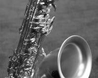 Saxofón de plata II Foto de archivo libre de regalías