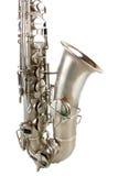 Saxofón de tenor de plata Imagen de archivo libre de regalías