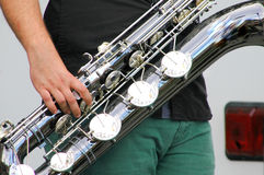 Saxofón del barítono Fotografía de archivo libre de regalías