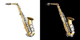 Saxofón del oro con las llaves de plata ilustración del vector
