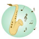Saxofón elegante en fondo azul Imagen de archivo
