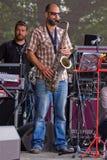 Saxofón en etapa Foto de archivo libre de regalías
