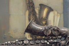 Saxofón viejo Fotografía de archivo