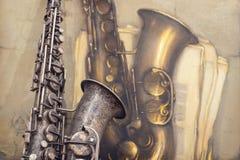 Saxofón viejo Fotografía de archivo libre de regalías