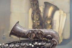 Saxofón viejo Fotos de archivo
