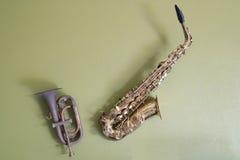 Saxofón y trompeta Fotos de archivo libres de regalías