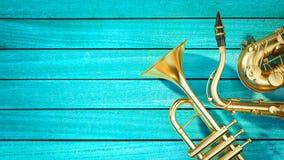 Saxofón y trompeta Imágenes de archivo libres de regalías