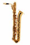 Saxofon över vit bakgrund Arkivfoton