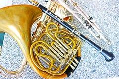 saxofon för del för hornsectioninstrument musikalisk fotografering för bildbyråer