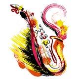 saxofon Hand dragen grungestilkonst Färgrik retro vektorillustration stock illustrationer