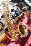 Saxofon som tas med fisheye Royaltyfri Fotografi