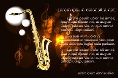 Saxofon texten på bakgrunden av musikaliska anmärkningar Arkivbilder