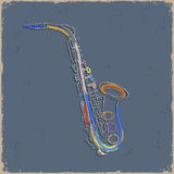 saxofone剪影在难看的东西纸的 库存图片