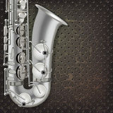 Saxofone abstrato do fundo do grunge e instrumentos musicais Imagens de Stock
