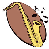 Saxofone com notas Ilustração do Vetor
