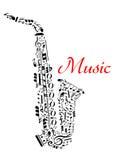Saxofone com notas musicais Imagens de Stock Royalty Free