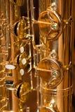 Saxofone das válvulas do fragmento Fotografia de Stock