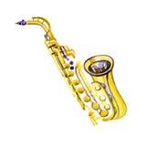 Saxofone de cobre da banda filarmônica da aquarela Imagens de Stock Royalty Free