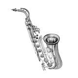 Saxofone de cobre da banda filarmônica da aquarela foto de stock