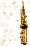 Saxofone do feriado de inverno Fotografia de Stock