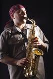 Saxofone do homem de B fotos de stock