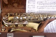Saxofone e caso Imagens de Stock