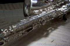 Saxofone e música de folha velha Fotografia de Stock