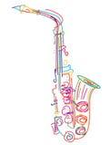 Saxofone estilizado ilustração stock