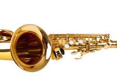 Saxofone isolado sobre o branco fotografia de stock royalty free