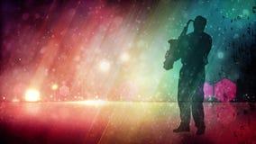 Saxofone que joga a silhueta com fundo do arco-íris do brilho ilustração do vetor