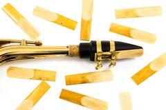 Saxofone Reed & adaptador bucal fotografia de stock
