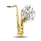 Saxofonen bryter in i anmärkningar som isoleras på en vit bakgrund Royaltyfria Bilder