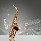Saxofonen med musikal noterar royaltyfri illustrationer
