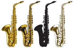 Saxofoner stock illustrationer