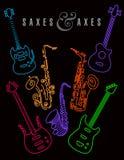 Saxofoner och yxor i neonfärger på en svart bakgrund Arkivfoto