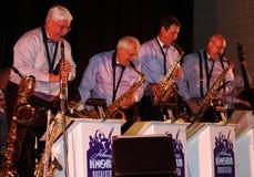 Saxofones y clarinet de la orquesta de Johnny Knorr Imagen de archivo libre de regalías