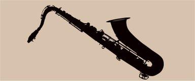 Saxofonillustration i svart färg vektor illustrationer