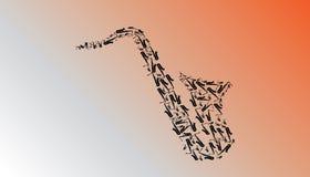 Saxofonillustration som göras från ett materiel av saxofoner royaltyfri illustrationer