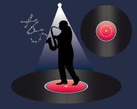 Saxofonist en vinyl vector illustratie