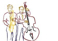 Saxofonist och kontrabasspelare Jazzbandillustration stock illustrationer