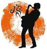 Saxofonist op een grungeachtergrond Stock Foto's