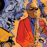 Saxofonist op een grungeachtergrond Royalty-vrije Stock Afbeelding