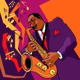 Saxofonist op stadium stock afbeeldingen