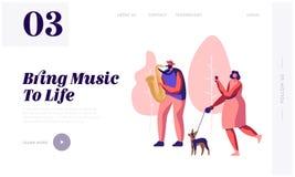 Saxofonist Playing Music in Park, Vrouw met Hond het Letten op Overleg en het Fotograferen van Muzikale Prestaties vector illustratie