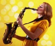 Saxofonista Fotografía de archivo libre de regalías