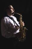 Saxofonista foto de archivo