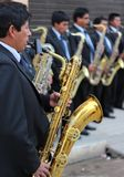 Saxofonista andino Fotografía de archivo