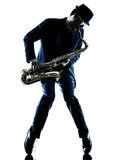 Saxofonista do homem que joga a silhueta do jogador de saxofone Foto de Stock Royalty Free
