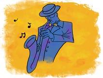 Saxofonista do jazz que joga a música Foto de Stock Royalty Free