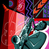 Saxofonista en un fondo colorido Imagen de archivo libre de regalías